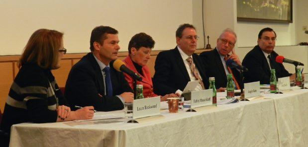 Panelists (from left to right): Laura Rockwood, Robin Mossinkoff, Angela Kane, Dan Plesch, Ambassador Franz Joseph Kuglitsch and Tariq Rauf